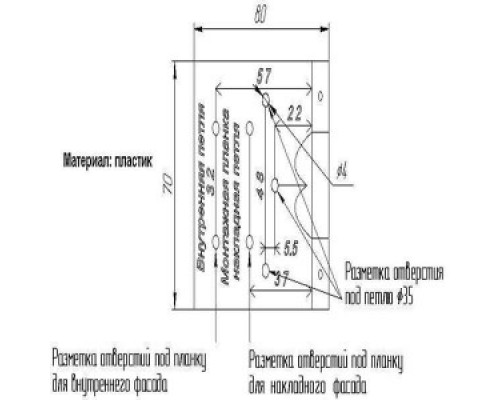 Шаблон для розмітки внутрішньої меблевої петлі