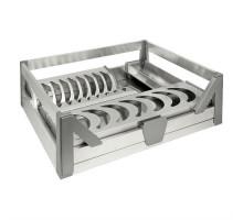 Сушка для посуду фасад 600 висувной з доводчиком Virno Style нержавіюча сталь