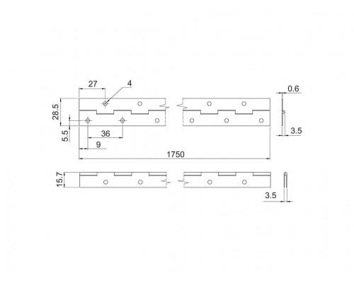 Петля спеціальна рояльна Milax L=1750 бронза