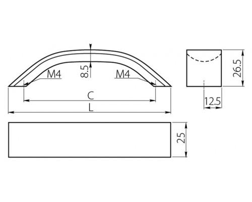 Ручка GTV UA-337 256 мм чорний